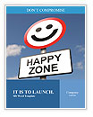 Illustration depicting a road traffic sign with a happiness concept. Blue sky background. Word Templates
