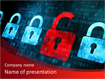 Security concept: Lock on digital screen, contrast, 3d render PowerPoint Template