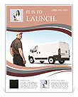 Smiling worker with cap and white truck Flyer Template