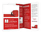 Man roll red 3d carpet on white background Brochure Templates