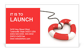 Lifeline in the form of heart on white Business Card Template