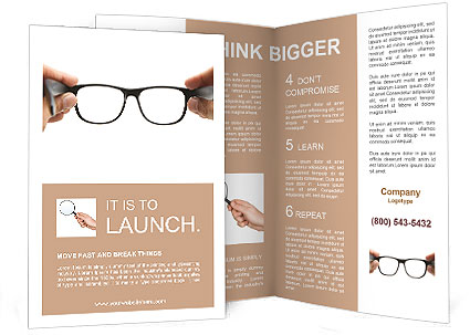 Human Hands Holding Retro Style Eyeglasses Brochure Template