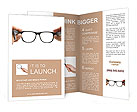 Human hands holding retro style eyeglasses Brochure Templates
