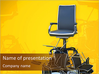Office chair on pyramid from chairs PowerPoint Template