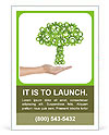 Hand hold green tree of industrial gear, environmental concept Ad Template