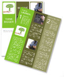Hand hold green tree of industrial gear, environmental concept Newsletter Template