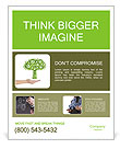 Hand hold green tree of industrial gear, environmental concept Poster Template