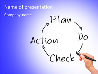 Business hand writing control and continuous improvement method for business process, PDCA - plan - PowerPoint Template