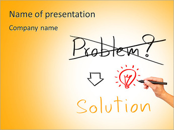 Idea or innovation change problem to solution concept written by business hand PowerPoint Template
