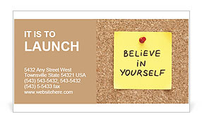 Believe In Yourself, written on an yellow sticky note on a cork bulletin board Business Card Template