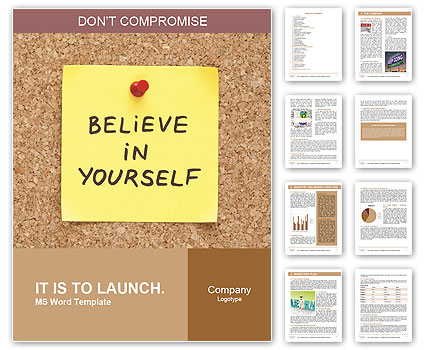 bulletin board template word believe in yourself written on an yellow sticky note on a