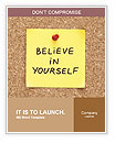 Believe In Yourself, written on an yellow sticky note on a cork bulletin board Word Templates