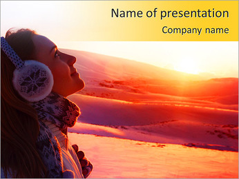 Photo of pretty woman walking in snowy mountains, side view of cute girl looking up, closeup portrai PowerPoint Template