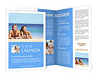 Beach couple looking. Happy multi-ethnic young couple lying on sand under sunny summer sun. Travel h Brochure Templates