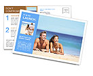 Beach couple looking. Happy multi-ethnic young couple lying on sand under sunny summer sun. Travel h Postcard Template