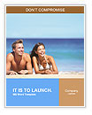 Beach couple looking. Happy multi-ethnic young couple lying on sand under sunny summer sun. Travel h Word Template
