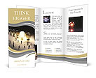 Light bulbs in a row with one being on, large group of people with a few moving to the light.Leading Brochure Templates
