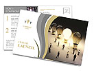 Light bulbs in a row with one being on, large group of people with a few moving to the light.Leading Postcard Template