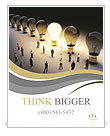 Light bulbs in a row with one being on, large group of people with a few moving to the light.Leading Poster Template