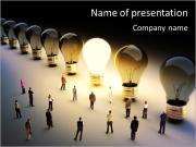 Лампы накаливания в ряд с одним находясь на, большая группа людей с небольшим количеством движущихся к light.Leading Шаблоны презентаций PowerPoint
