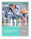 Building in a hand businessmen Word Templates