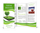 Black tablet like ipade with field and heart shape tree on it. Love concept background Brochure Templates