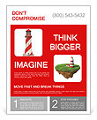 Red lighthouse isolated on white background with reflection effect Flyer Template