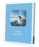 Surfer on Blue Ocean Wave in the Tube Getting Barreled Presentation Folder