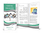 A technology man has images around his head. 3D images Brochure Templates
