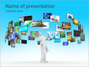 A technology man has images around his head. 3D images PowerPoint Templates