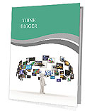 A technology man has images around his head. 3D images Presentation Folder