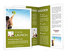 Teenager girl holding a green paper plane to aim her target let the plane fly high to the big blue s Brochure Template