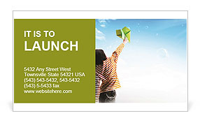 Teenager girl holding a green paper plane to aim her target let the plane fly high to the big blue s Business Card Template