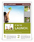 Teenager girl holding a green paper plane to aim her target let the plane fly high to the big blue s Flyer Template