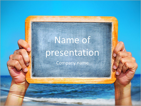 Someone holding a blank blackboard at the beach PowerPoint Template