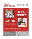 Hands with red frame reaches out from big heap of crumpled papers Flyer Template