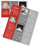 Hands with red frame reaches out from big heap of crumpled papers Newsletter Template