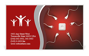 Power cords attracted by a wall socket Business Card Template