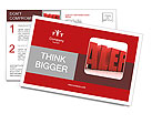 3D Alert text on white background Postcard Template