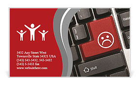 Close up view on conceptual keyboard - Bad mood (red key) Business Card Templates
