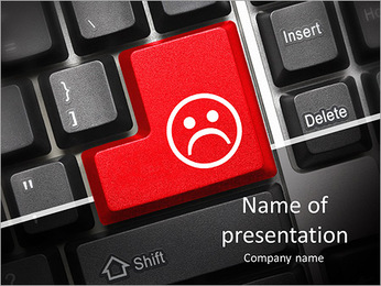 Close up view on conceptual keyboard - Bad mood (red key) PowerPoint Template