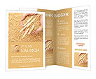 Man hands with grain, on wheat background Brochure Templates