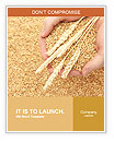 Man hands with grain, on wheat background Word Templates