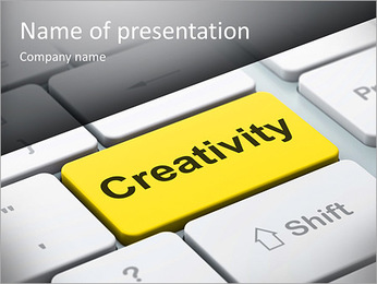 Marketing concept: computer keyboard with word Creativity, selected focus on enter button, 3d render PowerPoint Template