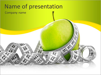 Measuring tape wrapped around a green apple as a symbol of diet. PowerPoint Template
