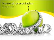 Measuring tape wrapped around a green apple as a symbol of diet. PowerPoint Templates