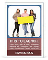 Three people holding a yellow, blank paper Ad Template