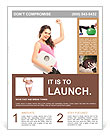 A young happy female holding a weight scale isolated on white background Flyer Template