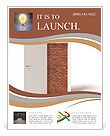 3d image of white door and brick wall Flyer Templates