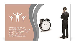 Thoughtful businessman and alarm clock Business Card Template